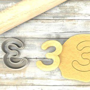 Numero 3 formina taglierina per biscotti |Number 3 Cookie Cutter