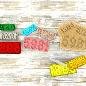 Formine per biscotti a forma di numeri e date personalizzabili