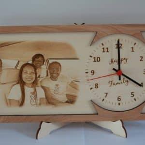 Orologio legno foto incisa laser