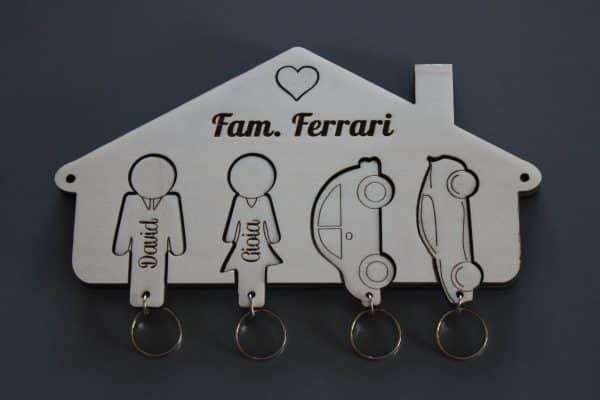 Portachiavi famiglia casetta legno