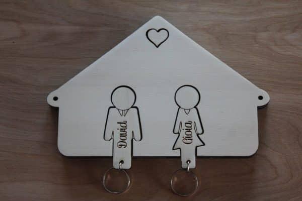 Idee per la casa, regali romantici, portachiavi in legno