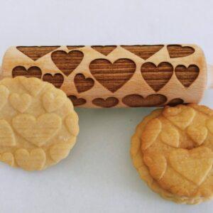 Mattarello legno biscotti Cuori