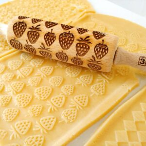 Mattarello legno biscotti Fragola