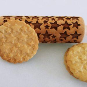 Mattarello legno biscotti Stelle
