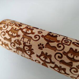 Mattarello legno Gatti pattern